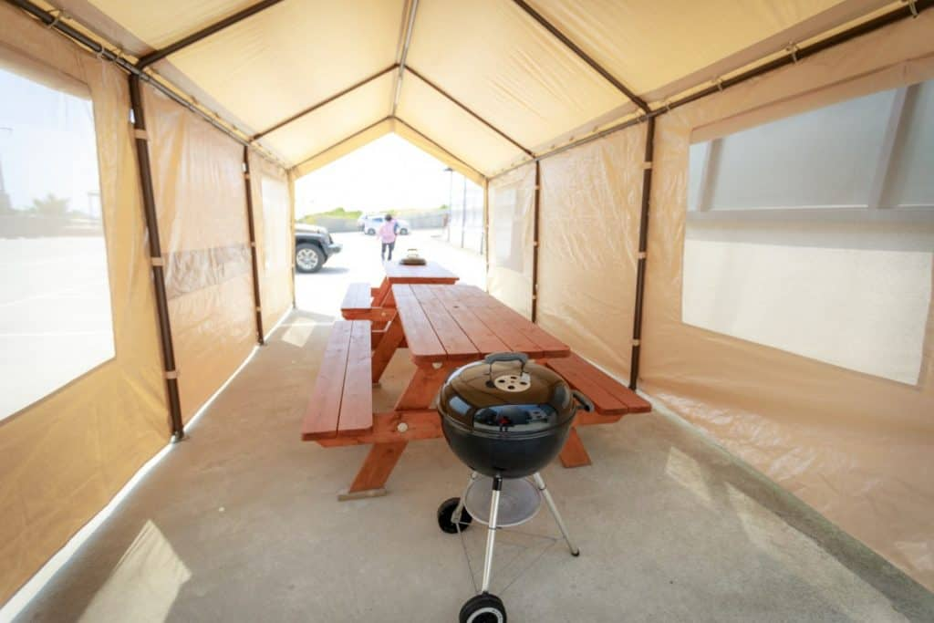 bbq in tent